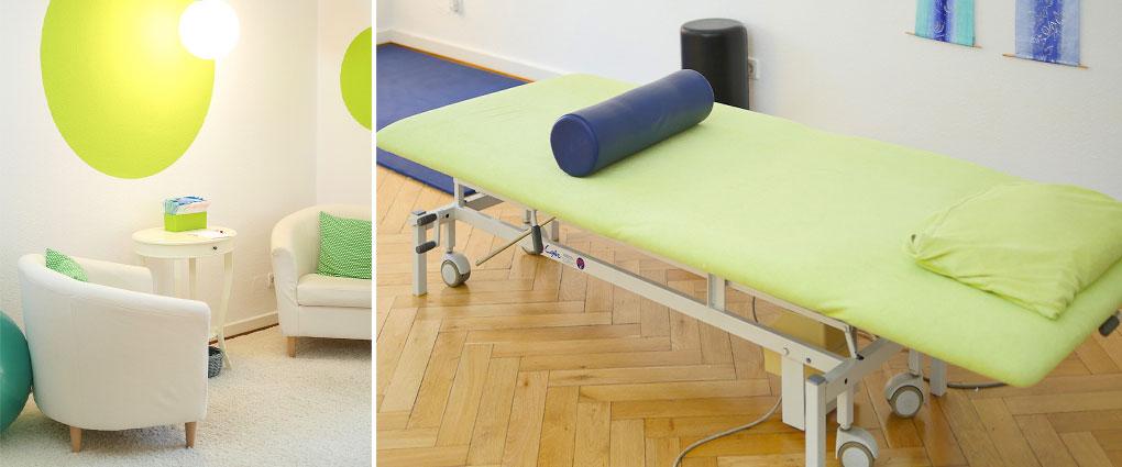 Blick in die Praxis an der Uni, zweiter Physiotherapeutischer Behandlungsraum und Wartebereich